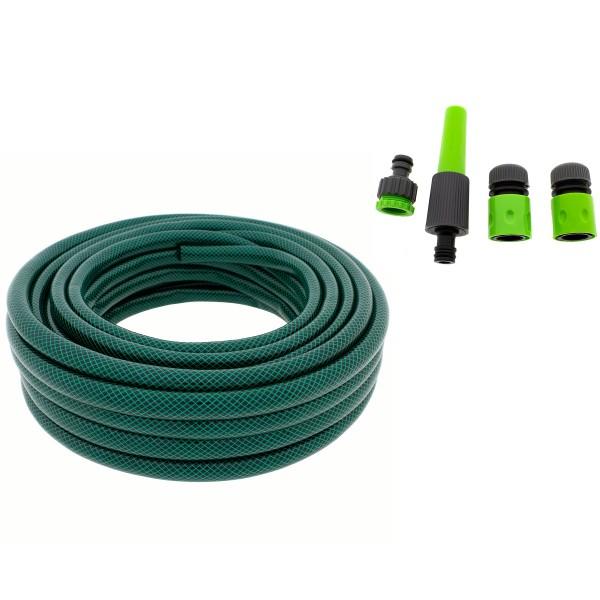 ALMA GARDEN 6-tlg. Bewässerungs-Komplett-Set Gartenschlauch 15 m 1/2 Zoll inkl. 5 Anschlüsse