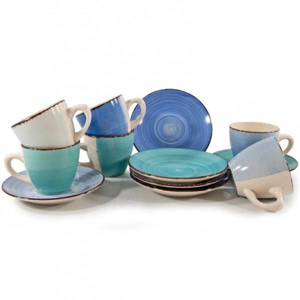 """12 tlg. Kaffeeset """"Blue Azul"""" aus Keramik"""