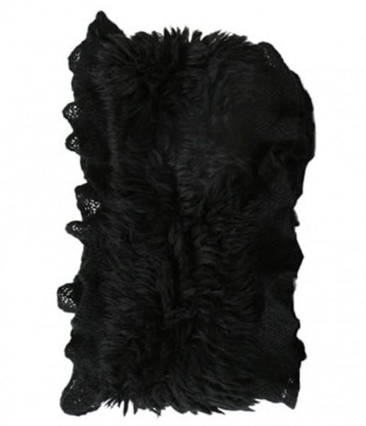 Rundschal mit Plüschbesatz, schwarz