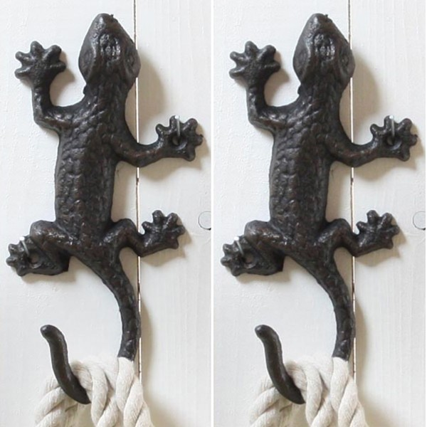 """2 x Wandhaken """"Salamander"""" aus Gusseisen L 18 cm"""