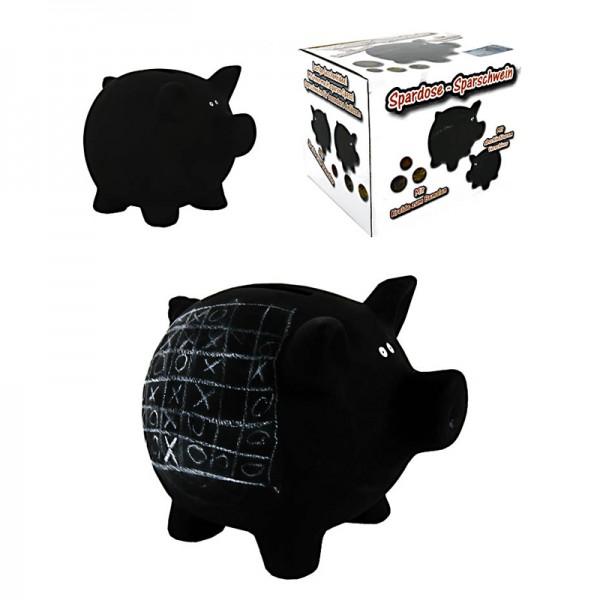 Schwarzes Sparschwein zum Bemalen