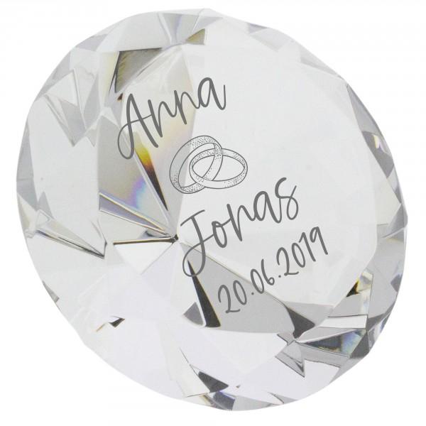 Kristall-Diamant miit Gravur für Hochzeit und Verliebte Ø 80 mm