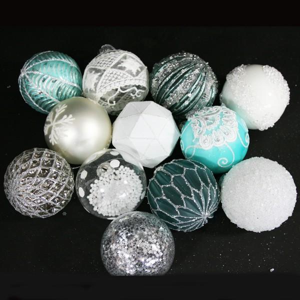 12 Stück Weihnachtskugeln aus Glas, Ø 8 cm