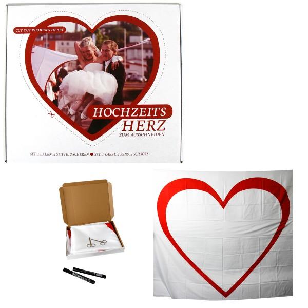 Hochzeit Herz-Set zum Ausschneiden 2 x 1,8 m Laken + Stifte +Scheren