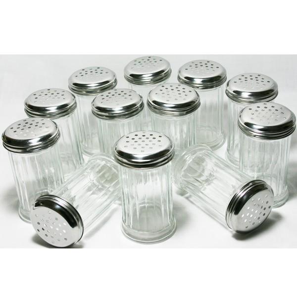 12 Stück Gewürzstreuer aus Glas mit Edelstahldeckel 300 ml