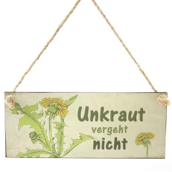 """Metallschild """"Unkraut vergeht nicht"""""""