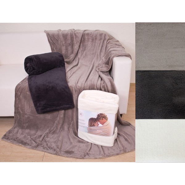 Mega-kuschelige Decke aus Corallfleece - Öko Tex 220 x 240 cm