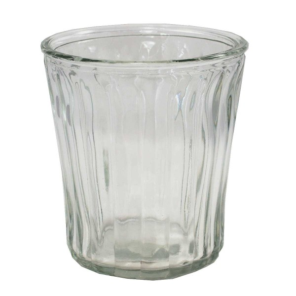 6 x Glaswindlicht mit Rillen H 15 cm