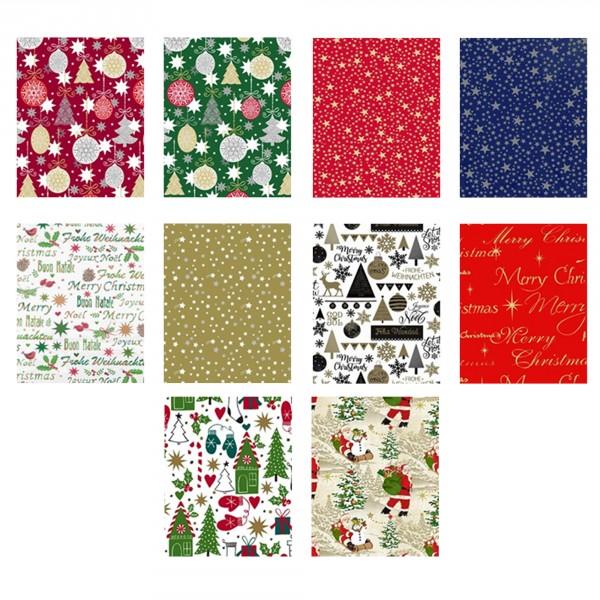 10 Rollen Geschenkpapier Weihnachten 2 m x 0,70 m / Rolle