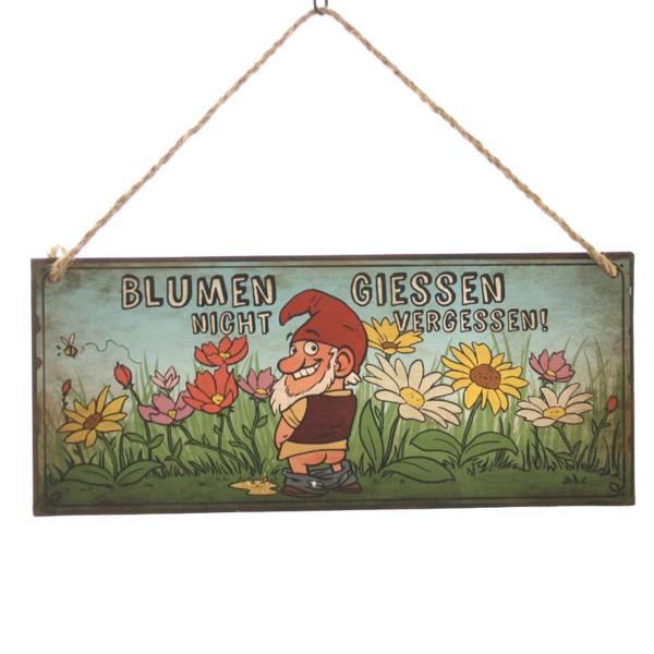 """Dekoschild Gartenzwerg """"Blumen giessen nicht vergessen!"""" 30,5 x 13 cm"""