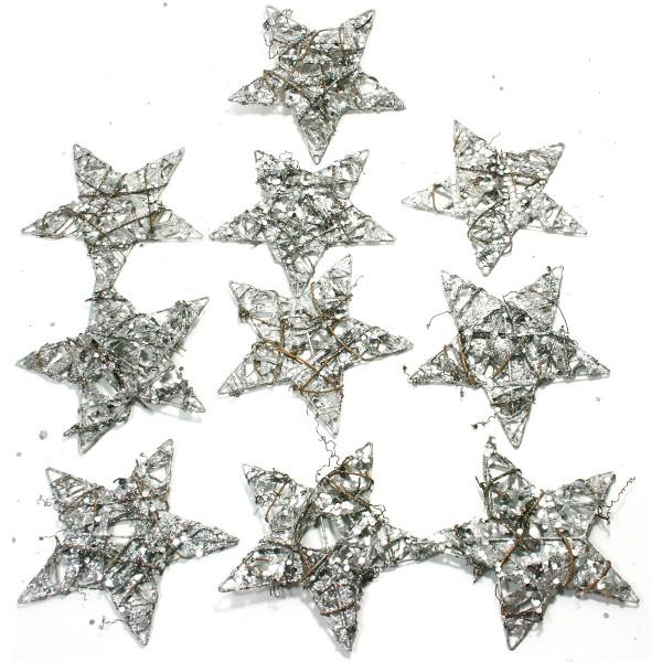 10 Stück Sterne aus Draht mit Rebe, Papier, Glitter Ø 15 cm