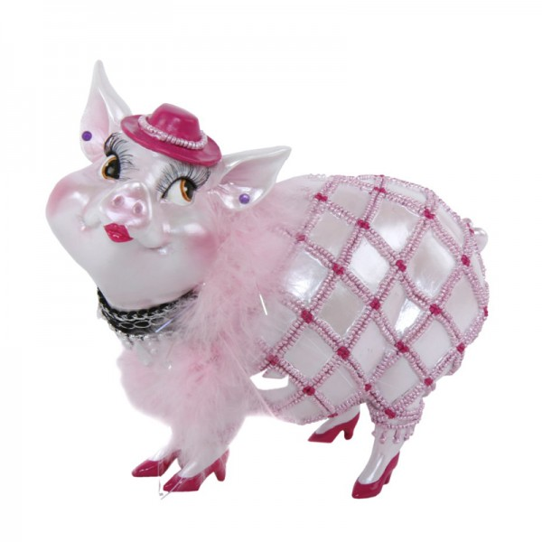 """Sparschwein """"Lady Piggy"""" weiß mit rosa Boa, 17 cm"""
