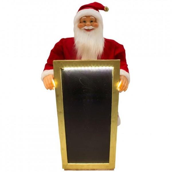 Nikolaus mit Werbetafel zum Beschriften und LED-Licht - 90 + 120 cm
