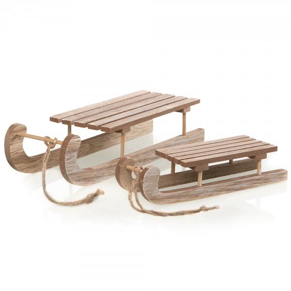 Schlitten aus Holz zur Dekoration 20 cm / 40 cm
