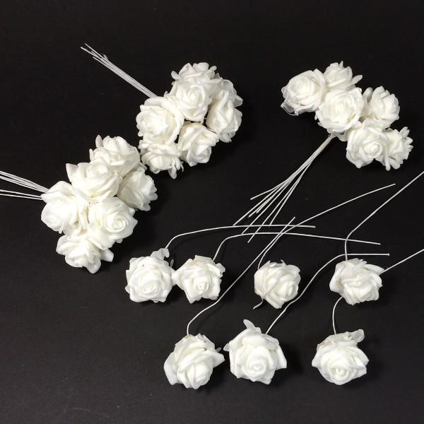 28 Stück Rosen an Draht L 10 cm