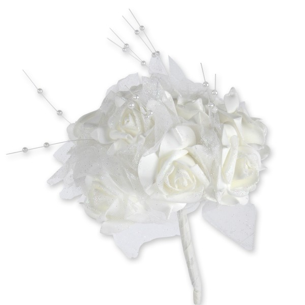Rosenstrauß aus 12 Rosen mit Perlen, Tüll, Satin und Organza