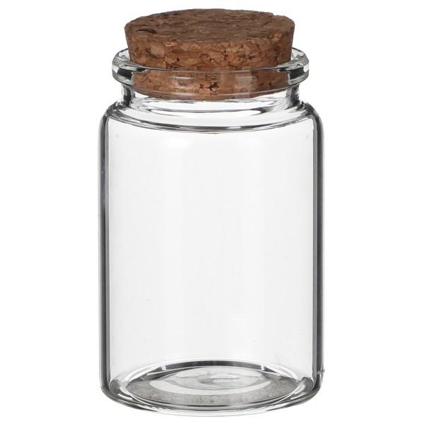 12 x Glasflaschen mit Deckel aus Kork H 7,5 oder 12,5 cm - Gewürzgläser - Vasen