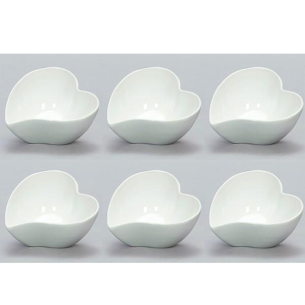 6 x Keramikschalen in Herzform Ø 12 cm