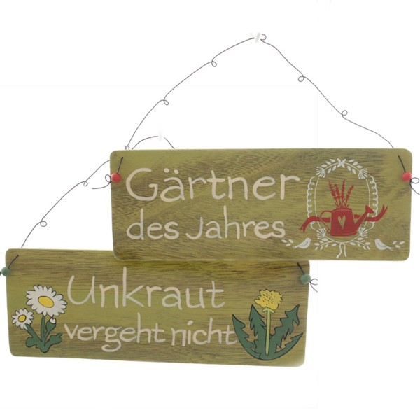 """Holzschilder """"Gärtner"""" 2-tlg. Set"""