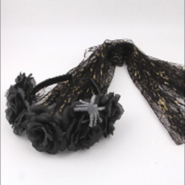 Gruseliger Haarreif mit Blumen in verschiedenen Ausführungen