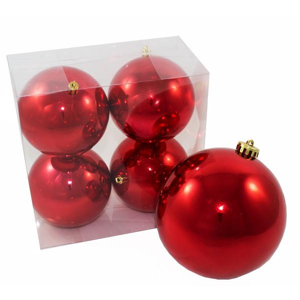 5-tlg Set L Weihnachts-Dekokugeln für Outdoor zum Hängen, rot-glänzend