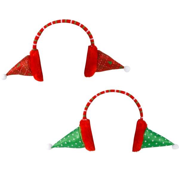 2 -tlg. Set Haarreifen Weihnachten als Ohrwärmer mit Nikolausmütze - Zwei Modelle