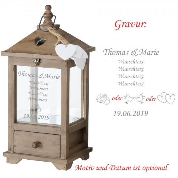 """Laterne """"Mirano""""aus Holz mit persönlicher Gravur zum Geburtstag oder mit Wunschtext"""