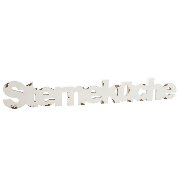 Schriftzug STERNEKÜCHE aus weißem Antikholz L 81 cm