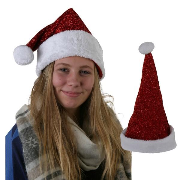 12 x Weihnachtsmütze, rot glitzernd mit Plüsch