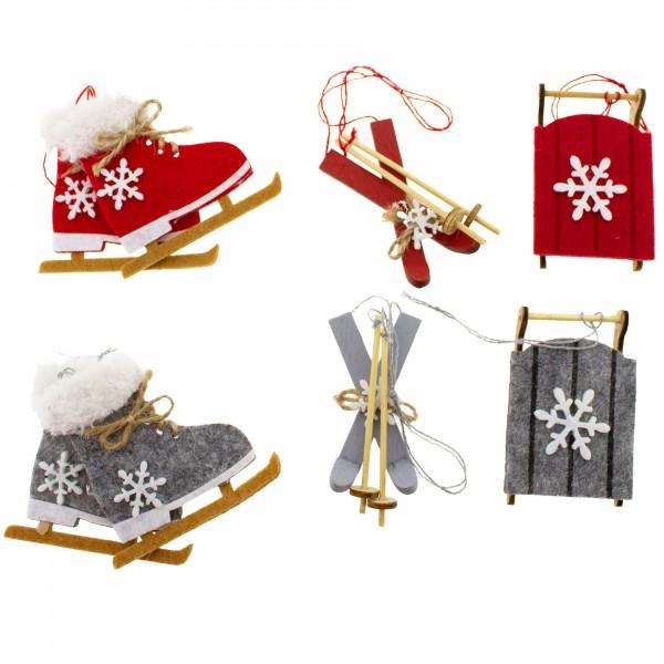 8 x Weihnachtshänger Schlittschuh, Schlitten und Ski aus Holz 7 cm zum Hängen - Baumschmuck