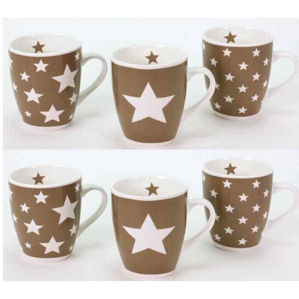 """Tassen """"Stars"""" aus Porzellan 6-tlg. Set"""