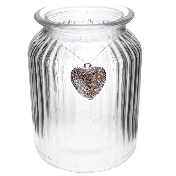12 x Windlichter geriffelt inkl. 12 Herzen im Antik-Look mit Öse zum Hängen 14,5 cm