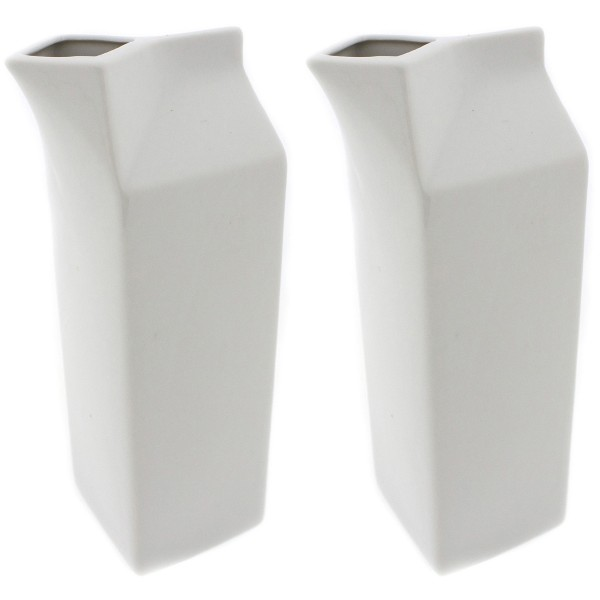 """2 x Milchkanne """"Milchtüte"""" aus Porzellan H 24 cm"""