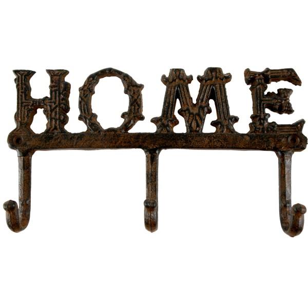 """Garderobe """"Home"""" aus Eisen mit drei Haken"""
