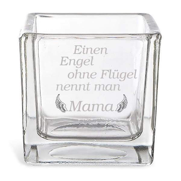"""Windlicht aus Glas mit Gravur """"Einen Engel ohne Flügel....."""" 8 x 8 cm"""
