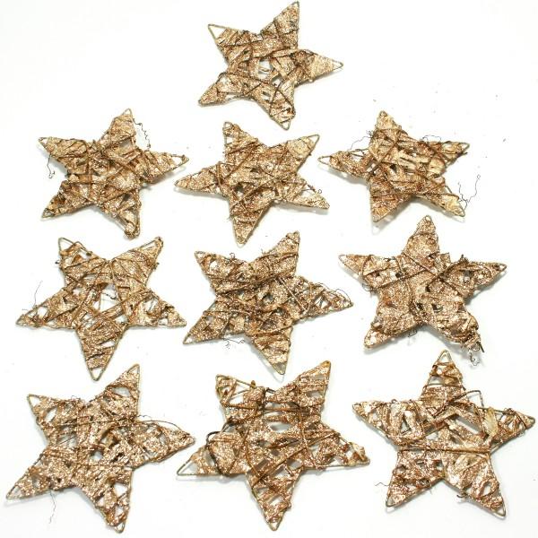 10 Stück Sterne aus Draht mit Rebe und Papierglitter Ø 15 cm