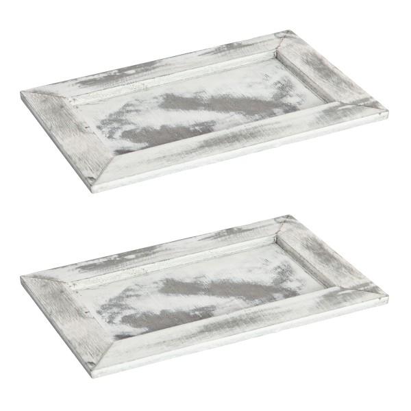 2 Stk. Tabletts aus Holz- Gesteckunterlage L 25,5 cm H 1,5 cm