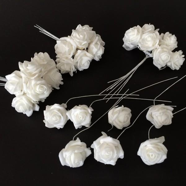 """28 Stück Rosen an Draht """"Hochzeit"""" L 13 cm"""