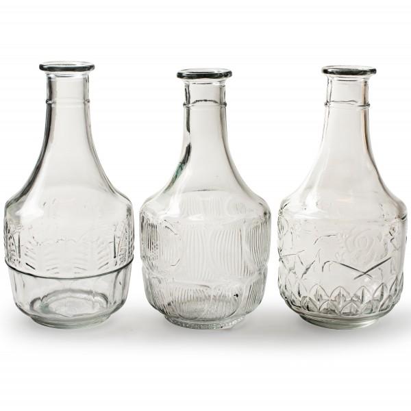 Vasen aus Glas in stilvollem Vintage-Look H 22 cm, 3 Designs sortiert