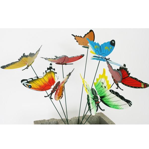 Schmetterlinge auf Stick, 8 Stück sortiert, L 50 cm
