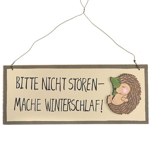 """Holzschild """"Bitte nicht stören, mache Winterschlaf"""""""