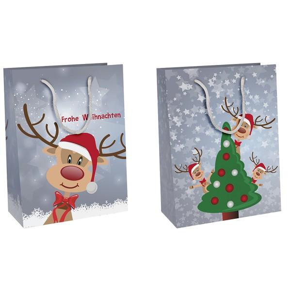 12 x Geschenktüten mit süßen Rentieren H 14,5 cm