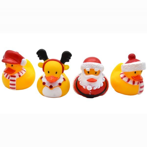 4-tlg. Set Badeenten im Weihnachts-Outfit