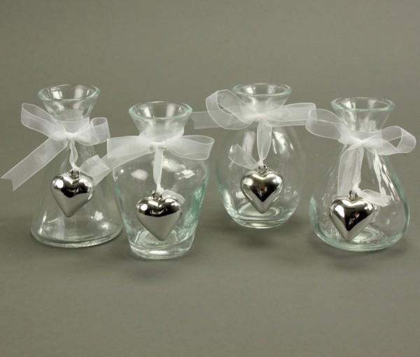 """4 Stück Glasfläschchen - Vasen mit """"Herz"""" 10 cm"""