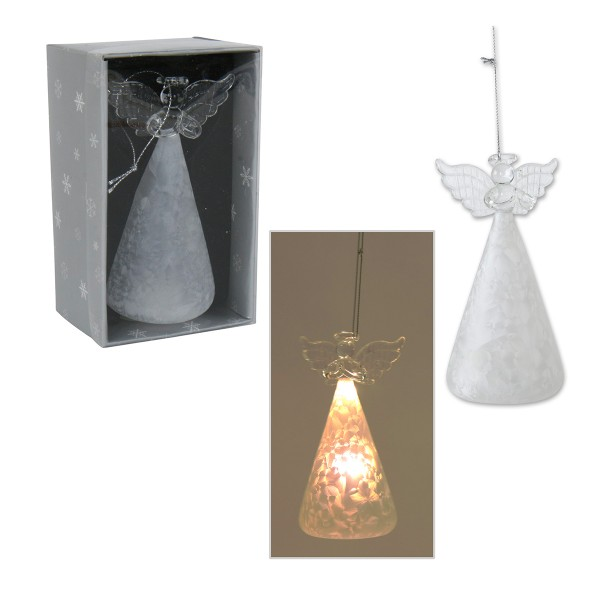 Engel aus Glas zum Hängen mit LED Beleuchtung 13 cm