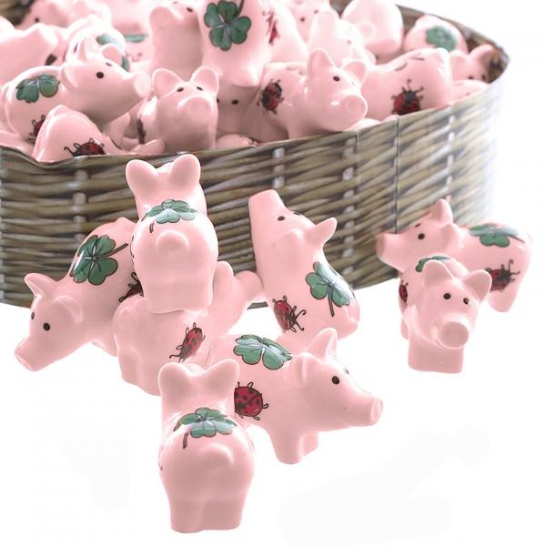 30 x Glücksbringer Glücksschwein aus Porzellan 3,5 x 3 cm