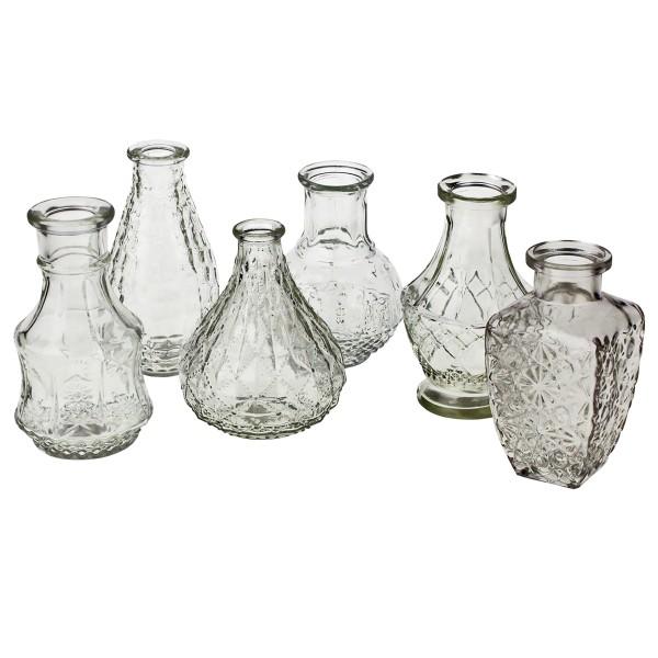12 x Vasen aus Glas in verschiedenen Modellen und Größen
