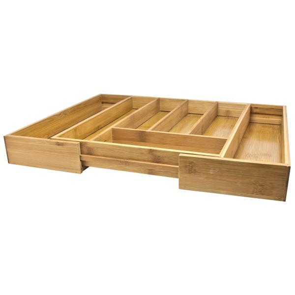 Besteckkasten aus Bambus, ausziehbar 35,5 x 25,5 (38,5) cm