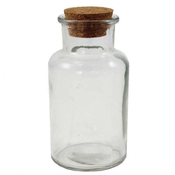 12 x Glasflaschen - Apothekerflaschen mit Korken H 12,5 cm