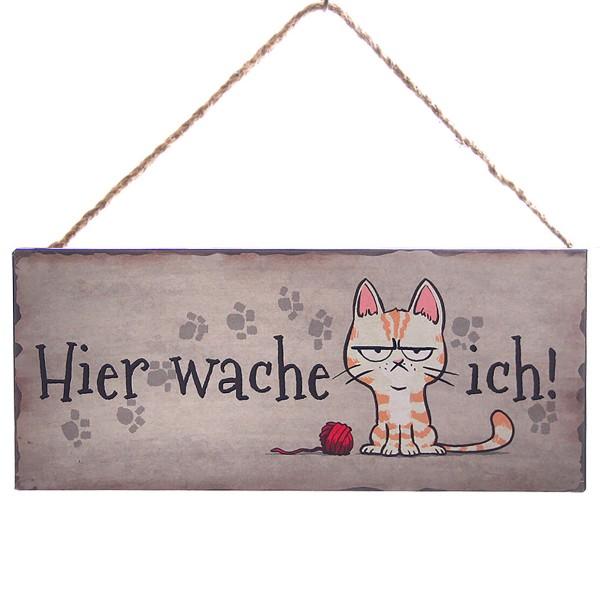 """Metallschild Katze """"Hier wache ich!"""", 30,5 x 13 cm"""